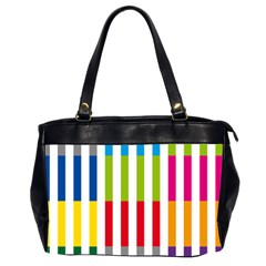Color Bars Rainbow Green Blue Grey Red Pink Orange Yellow White Line Vertical Office Handbags (2 Sides)