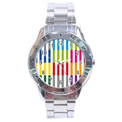 Color Bars Rainbow Green Blue Grey Red Pink Orange Yellow White Line Vertical Stainless Steel Analogue Watch by Alisyart