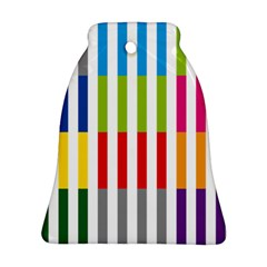 Color Bars Rainbow Green Blue Grey Red Pink Orange Yellow White Line Vertical Bell Ornament (two Sides)