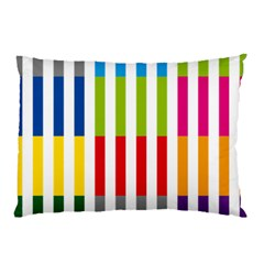 Color Bars Rainbow Green Blue Grey Red Pink Orange Yellow White Line Vertical Pillow Case (two Sides) by Alisyart