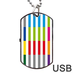 Color Bars Rainbow Green Blue Grey Red Pink Orange Yellow White Line Vertical Dog Tag Usb Flash (two Sides)