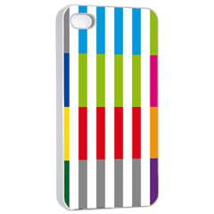 Color Bars Rainbow Green Blue Grey Red Pink Orange Yellow White Line Vertical Apple Iphone 4/4s Seamless Case (white) by Alisyart