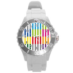 Color Bars Rainbow Green Blue Grey Red Pink Orange Yellow White Line Vertical Round Plastic Sport Watch (l) by Alisyart
