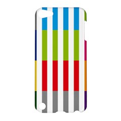 Color Bars Rainbow Green Blue Grey Red Pink Orange Yellow White Line Vertical Apple Ipod Touch 5 Hardshell Case by Alisyart