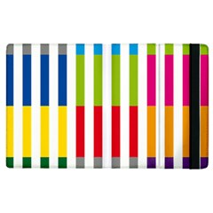 Color Bars Rainbow Green Blue Grey Red Pink Orange Yellow White Line Vertical Apple Ipad 2 Flip Case by Alisyart