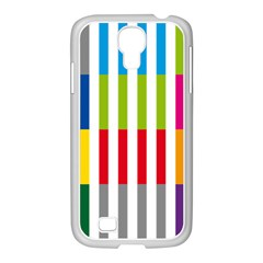 Color Bars Rainbow Green Blue Grey Red Pink Orange Yellow White Line Vertical Samsung Galaxy S4 I9500/ I9505 Case (white) by Alisyart