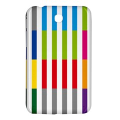 Color Bars Rainbow Green Blue Grey Red Pink Orange Yellow White Line Vertical Samsung Galaxy Tab 3 (7 ) P3200 Hardshell Case  by Alisyart