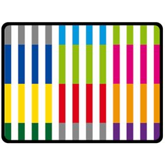 Color Bars Rainbow Green Blue Grey Red Pink Orange Yellow White Line Vertical Double Sided Fleece Blanket (large)  by Alisyart
