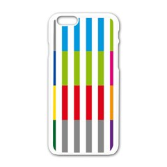 Color Bars Rainbow Green Blue Grey Red Pink Orange Yellow White Line Vertical Apple Iphone 6/6s White Enamel Case
