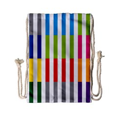 Color Bars Rainbow Green Blue Grey Red Pink Orange Yellow White Line Vertical Drawstring Bag (small) by Alisyart