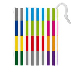 Color Bars Rainbow Green Blue Grey Red Pink Orange Yellow White Line Vertical Drawstring Pouches (xxl) by Alisyart