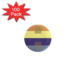 Color Therey Orange Yellow Purple Blue 1  Mini Magnets (100 Pack)
