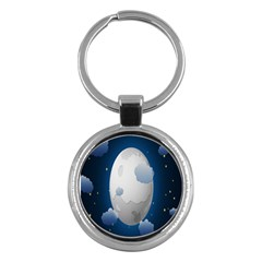 Cloud Moon Star Blue Sky Night Light Key Chains (round)  by Alisyart
