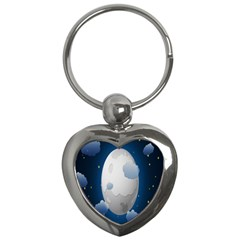 Cloud Moon Star Blue Sky Night Light Key Chains (heart)