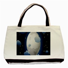 Cloud Moon Star Blue Sky Night Light Basic Tote Bag