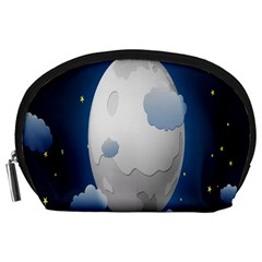 Cloud Moon Star Blue Sky Night Light Accessory Pouches (large)  by Alisyart