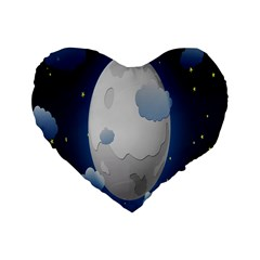 Cloud Moon Star Blue Sky Night Light Standard 16  Premium Flano Heart Shape Cushions
