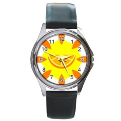 Citrus Cutie Request Orange Limes Yellow Round Metal Watch by Alisyart
