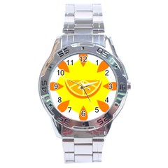 Citrus Cutie Request Orange Limes Yellow Stainless Steel Analogue Watch