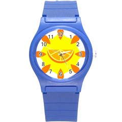 Citrus Cutie Request Orange Limes Yellow Round Plastic Sport Watch (s) by Alisyart