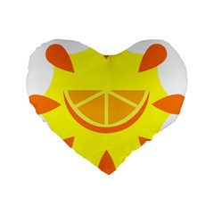 Citrus Cutie Request Orange Limes Yellow Standard 16  Premium Flano Heart Shape Cushions by Alisyart