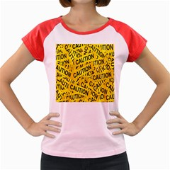 Caution Road Sign Cross Yellow Women s Cap Sleeve T Shirt