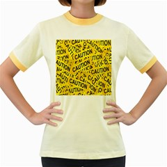 Caution Road Sign Cross Yellow Women s Fitted Ringer T Shirts