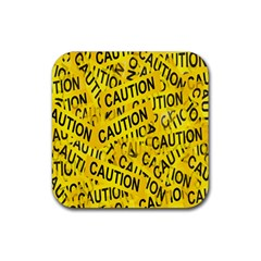 Caution Road Sign Cross Yellow Rubber Square Coaster (4 Pack)