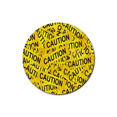 Caution Road Sign Cross Yellow Rubber Coaster (round)  by Alisyart