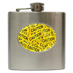 Caution Road Sign Cross Yellow Hip Flask (6 Oz) by Alisyart