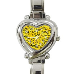 Caution Road Sign Cross Yellow Heart Italian Charm Watch by Alisyart