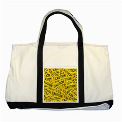 Caution Road Sign Cross Yellow Two Tone Tote Bag
