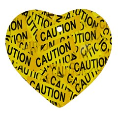 Caution Road Sign Cross Yellow Heart Ornament (two Sides) by Alisyart