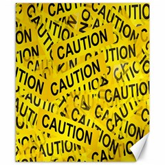 Caution Road Sign Cross Yellow Canvas 8  X 10