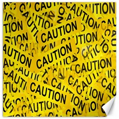 Caution Road Sign Cross Yellow Canvas 12  X 12