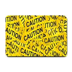 Caution Road Sign Cross Yellow Small Doormat  by Alisyart