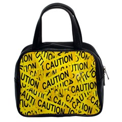 Caution Road Sign Cross Yellow Classic Handbags (2 Sides)