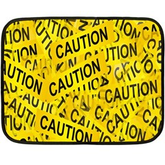 Caution Road Sign Cross Yellow Double Sided Fleece Blanket (mini)  by Alisyart