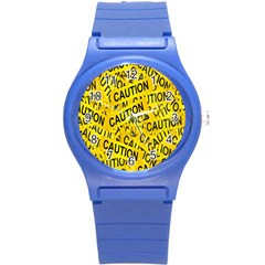 Caution Road Sign Cross Yellow Round Plastic Sport Watch (s) by Alisyart