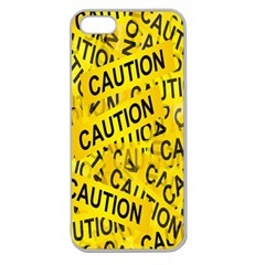 Caution Road Sign Cross Yellow Apple Seamless Iphone 5 Case (clear) by Alisyart