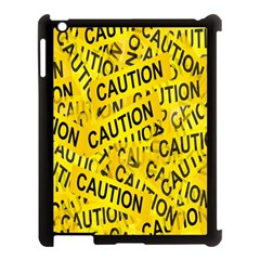 Caution Road Sign Cross Yellow Apple Ipad 3/4 Case (black) by Alisyart