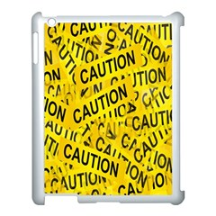Caution Road Sign Cross Yellow Apple Ipad 3/4 Case (white)
