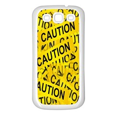 Caution Road Sign Cross Yellow Samsung Galaxy S3 Back Case (white) by Alisyart