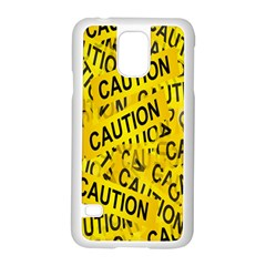Caution Road Sign Cross Yellow Samsung Galaxy S5 Case (white)