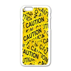 Caution Road Sign Cross Yellow Apple Iphone 6/6s White Enamel Case by Alisyart