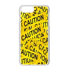 Caution Road Sign Cross Yellow Apple Iphone 7 Plus White Seamless Case by Alisyart