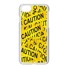 Caution Road Sign Cross Yellow Apple Iphone 7 Seamless Case (white) by Alisyart
