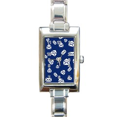 Envelope Letter Sand Blue White Masage Rectangle Italian Charm Watch