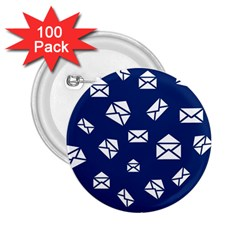 Envelope Letter Sand Blue White Masage 2 25  Buttons (100 Pack)
