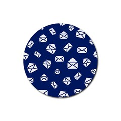 Envelope Letter Sand Blue White Masage Rubber Round Coaster (4 Pack)  by Alisyart